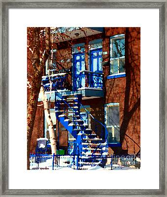Verdun Duplex Stairs With Birch Tree Montreal Winding Staircases Winter City Scene Carole Spandau Framed Print by Carole Spandau