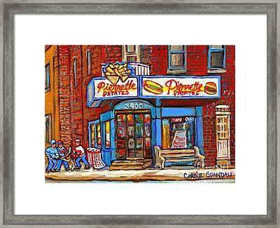 Verdun Famous Restaurant Pierrette Patates - Street Hockey Game At 3900 Rue Verdun - Carole Spandau Framed Print