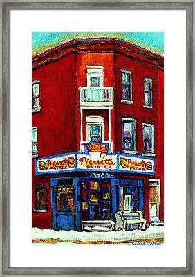 Verdun Landmarks Pierrette Patates Resto Cafe  Deli Hot Dog Joint- Historic Marquees -montreal Scene Framed Print by Carole Spandau