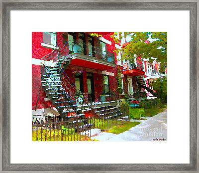 Verdun Spiral Staircases Sprawling Balconies Red Brick Duplex Triplex Montreal Scenes Carole Spandau Framed Print by Carole Spandau
