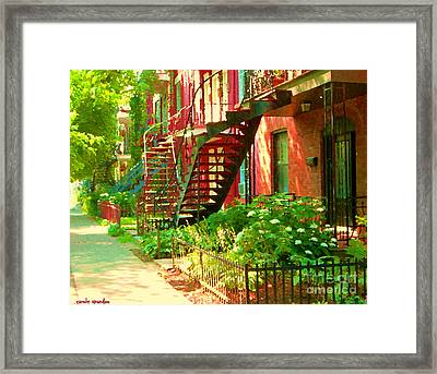 Verdun Stairs Winding Staircases And Fenced Flower Garden Montreal Summer Scene Carole Spandau Framed Print by Carole Spandau