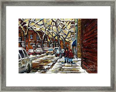 Verdun Winter Row Houses In January Montreal Paintings Time For A Walk Carole Spandau Framed Print