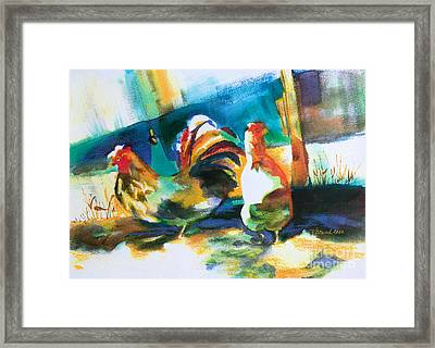 Framed Print featuring the painting Veridian Chicken by Kathy Braud