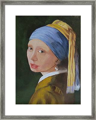 Framed Print featuring the painting Vermeer Study by Sharon Schultz