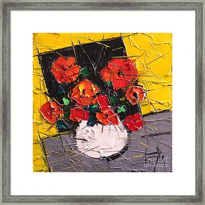 Vermilion Flowers On Black Square Framed Print by Mona Edulesco