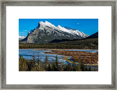 Vermillion Lakes And The Rundle Mountain Framed Print by Levin Rodriguez