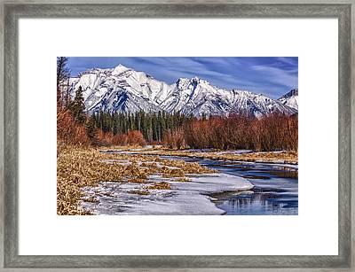 Vermillion Lakes In Winter Framed Print
