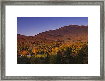Vermon Autumn Sunset Mount Mansfield Mountain Forest Framed Print by Andy Gimino