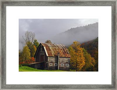 Vermont Autumn Barn Framed Print