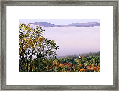 Framed Print featuring the photograph Vermont Autumn Morning by Alan L Graham