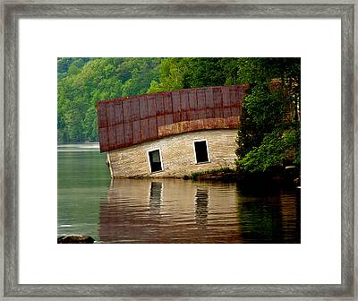 Framed Print featuring the photograph Vermont Boathouse by John Haldane