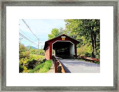 Framed Print featuring the photograph Vermont Covered Bridge by Trina  Ansel
