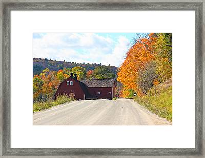 Vermont Dirt Road In The Fall Framed Print