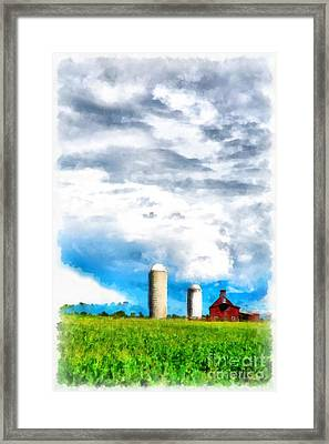 Vermont Farm Scape Framed Print by Edward Fielding