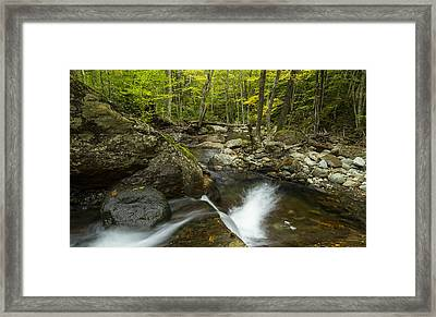 Vermont Forest Waterfall Trees River Panorama Framed Print by Andy Gimino