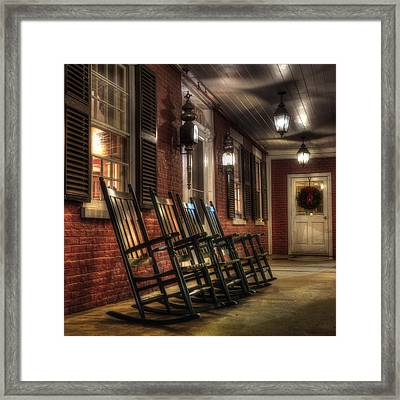 Vermont Front Porch With Rocking Chairs Framed Print by Joann Vitali
