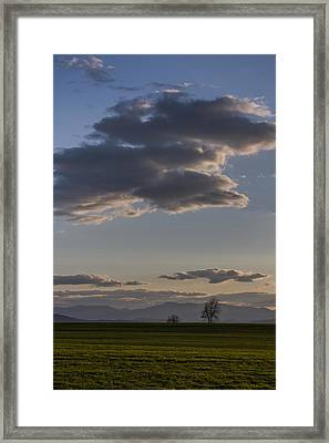 Vermont Grass Field Trees Clouds Adirondack Mountains New York Framed Print by Andy Gimino