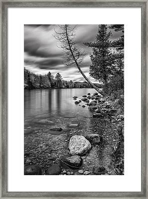 Vermont Groton Ricker Pond Autumn Landscape Black And White Framed Print