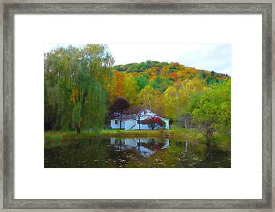 Vermont House In Full Autumn Framed Print