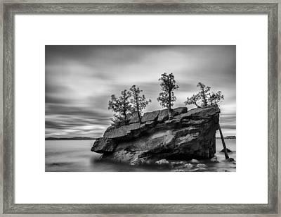 Vermont Lake Champlain Boulder Trees Black And White Framed Print