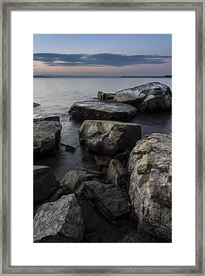 Vermont Lake Champlain Sunset Cloudscape Rocks Framed Print