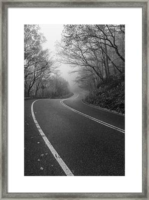 Vermont Scene Black And White Road Forest Fog Framed Print by Andy Gimino