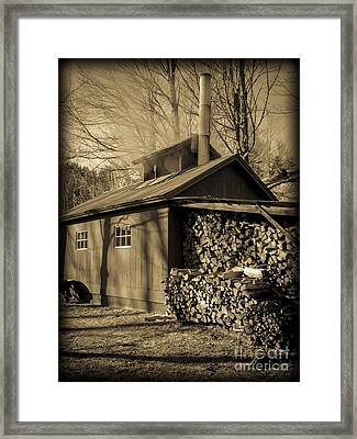 Vermont Maple Sugar Shack Circa 1954 Framed Print by Edward Fielding