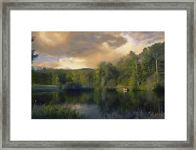 Framed Print featuring the painting Vermont Morning Reflection by Jeff Kolker