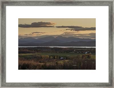 Vermont New York Sunset Lake Champlain Mountains Framed Print