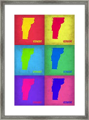 Vermont Pop Art Map 1 Framed Print by Naxart Studio