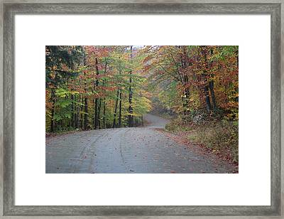 Vermont Road On Rainy Fall Day Framed Print by Vance Bell