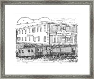 Vermont Salvage And Train Framed Print by Richard Wambach