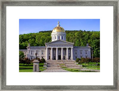 Vermont State Capitol In Montpelier  Framed Print