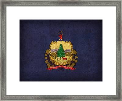 Vermont State Flag Art On Worn Canvas Framed Print
