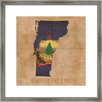 Vermont State Flag Map Outline With Founding Date On Worn Parchment Background Framed Print