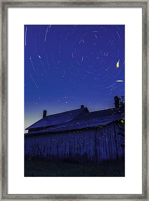 Vermont Twilight Blue Hour Farmhouse Startrails Fireflies Framed Print by Andy Gimino