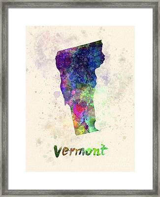 Vermont Us State In Watercolor Framed Print by Pablo Romero