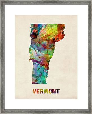 Vermont Watercolor Map Framed Print by Michael Tompsett