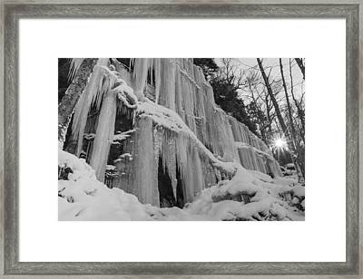 Vermont Waterfall Ice Black And White Forest Framed Print
