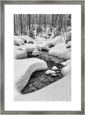 Vermont Winter Landscape Brook Forest Snow Framed Print