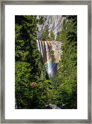 Vernal Falls Rainbow Framed Print by Mike Lee