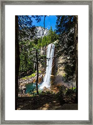 Vernal Falls Through The Trees Framed Print by Mike Lee