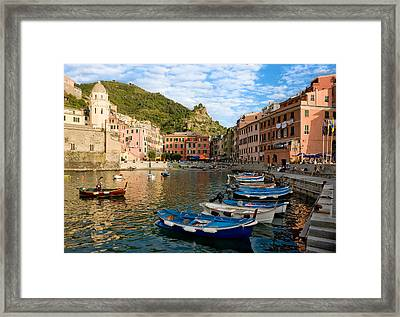 Framed Print featuring the photograph Vernazza Boatman - Cinque Terre Italy by Carl Amoth