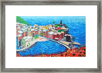 Vernazza Cinque Terre Italy Painting Detail Framed Print