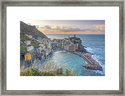 Vernazza Italy Sunrise 1 - Cinque Terre Pictures Framed Print