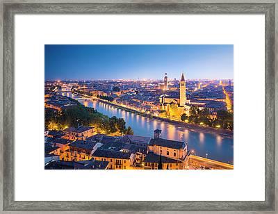 Verona At Night Framed Print by Spooh