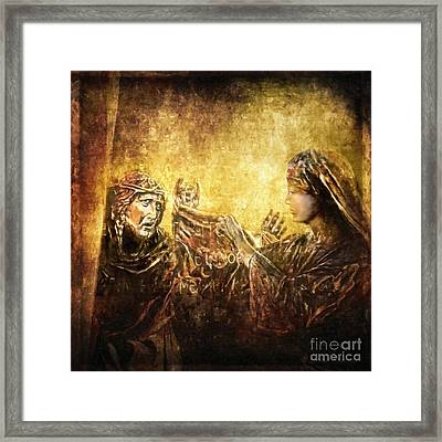 Veronica Wipes His Face Via Dolorosa 6 Framed Print by Lianne Schneider