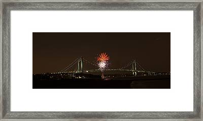 Verrazano Narrows Bridge Fireworks Framed Print