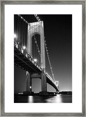Verrazano Bridge At Night - Black And White Framed Print