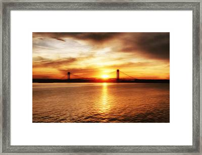 Verrazano Bridge At Sunset Framed Print
